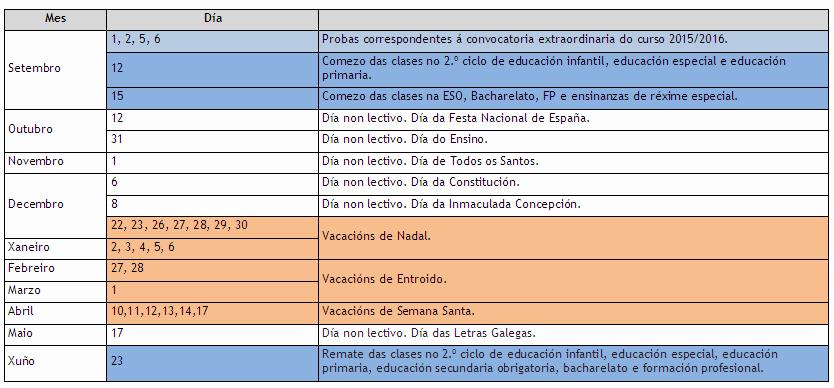 Calendario Escolar Xunta.Calendario Escolar 2016 17 Anpa Vilaverde Mourente